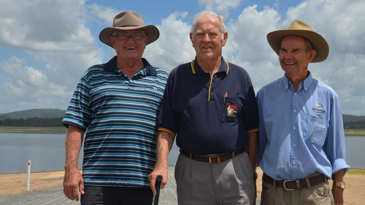 DECADES OF CAMPAIGNING: Warwick Fish Stocking Assocation members Bob Reid, Les Meikeljohn and Ed Kemp are happy to finally have the boat ramp up and running.