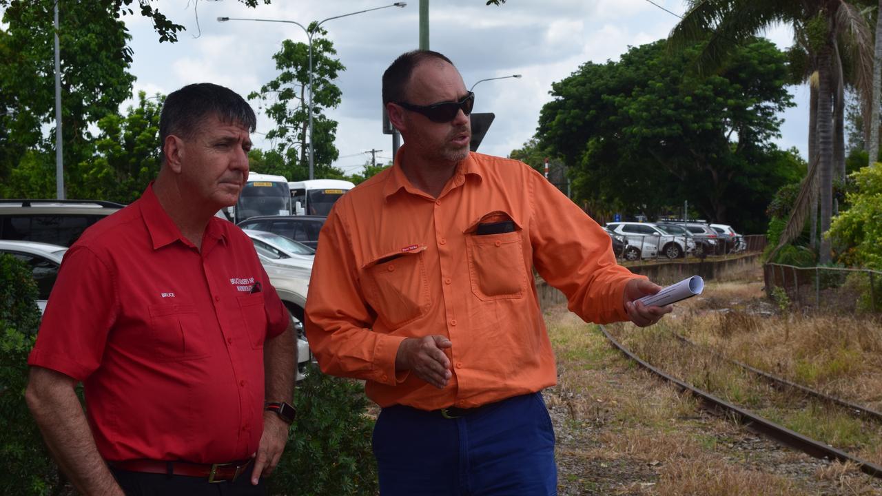 RAIL UPGRADE: State Member for Maryborough Bruce Saunders and QR Asset Planning Co-ordinator Craig Webb inspect the Lennox Street railway.