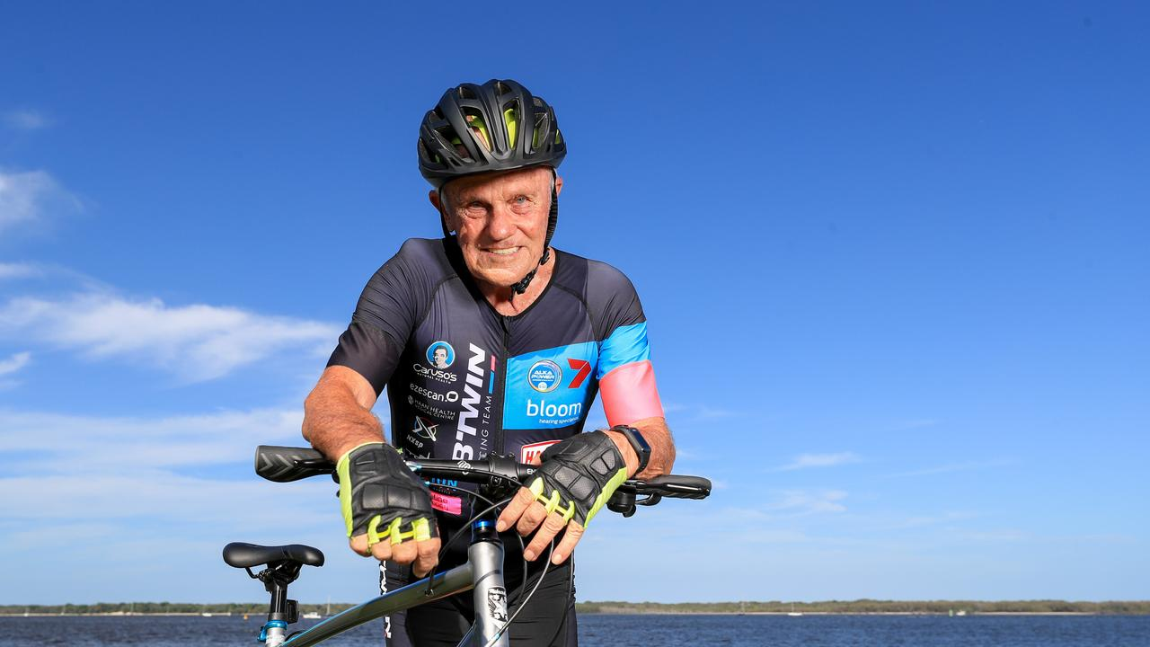 Alf Larkin, 79, preparing for the Pottsville Triathlon. Pic: Tim Marsden