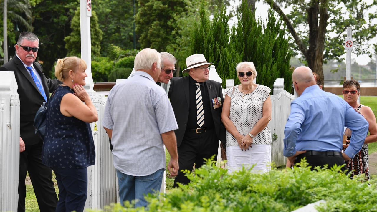 Protesting members of the Maryborough RSL Sub-branch gather outside Maryborough Courthouse. Photo: Alistair Brightman