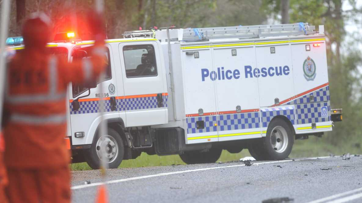 The police rescue van arrives at the scene of a double fatality on the Summerland Way at Dilkoon on Saturday morning.