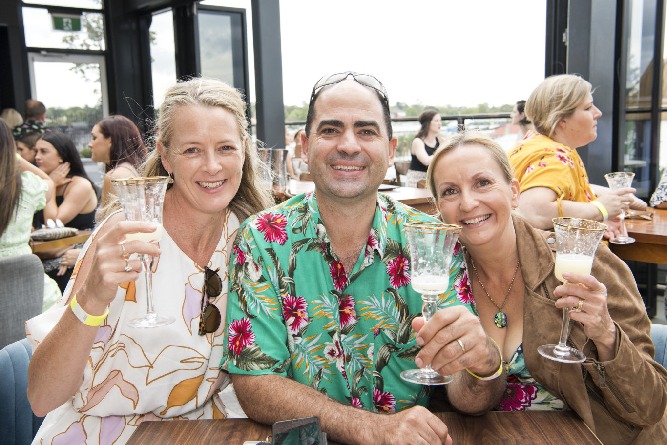 ( From left ) Nina Sands, Blaise Shann and Faye Shann. World Margarita Day on the rooftop at George Banks. Saturday, 22nd Feb, 2020.