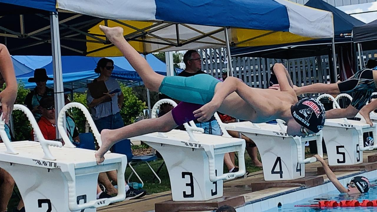Caribeae's Levi Thomsen is ready to launch into action at the Capricorn 13 and Under Short Course Meet in Rockhampton this weekend.
