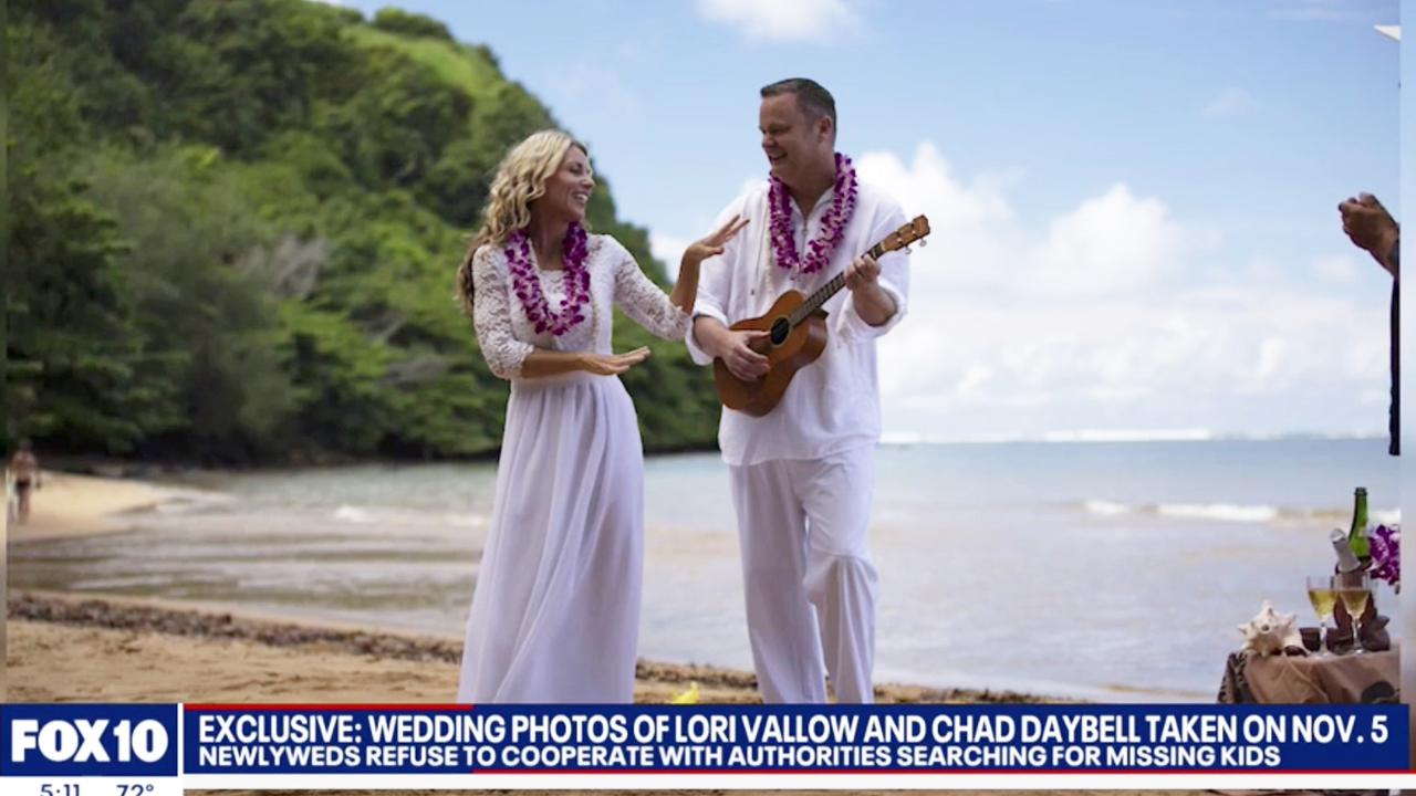 Wedding photo from Lori Vallow and Chad Daybell's wedding in Hawaii, where the couple have been spotted on multiple occasions. Picture: Fox10
