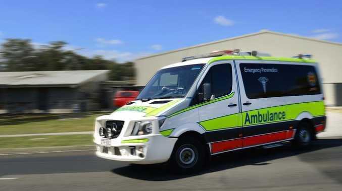 Paramedics on scene at single vehicle accident