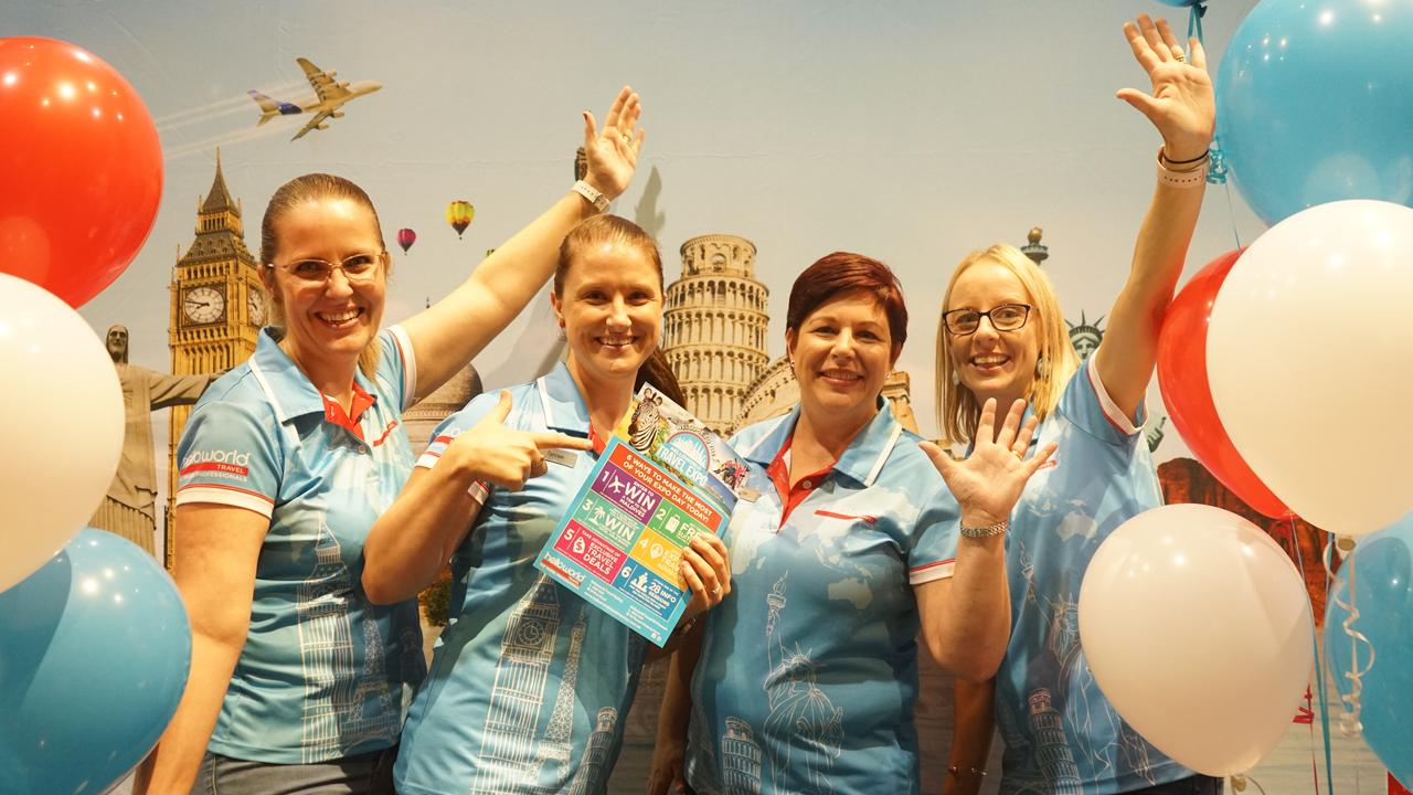 Annabel Dolphin, Tahnee Smith, Bonnie Davis and Stacey Dennis from Helloworld Travel Mackay. Picture: Rainee Shepperson.