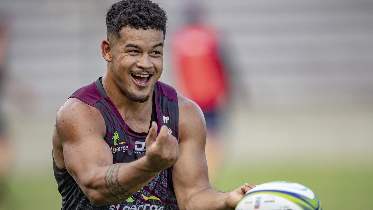 Queensland Reds centre Hunter Paisami pulls no punches at training.