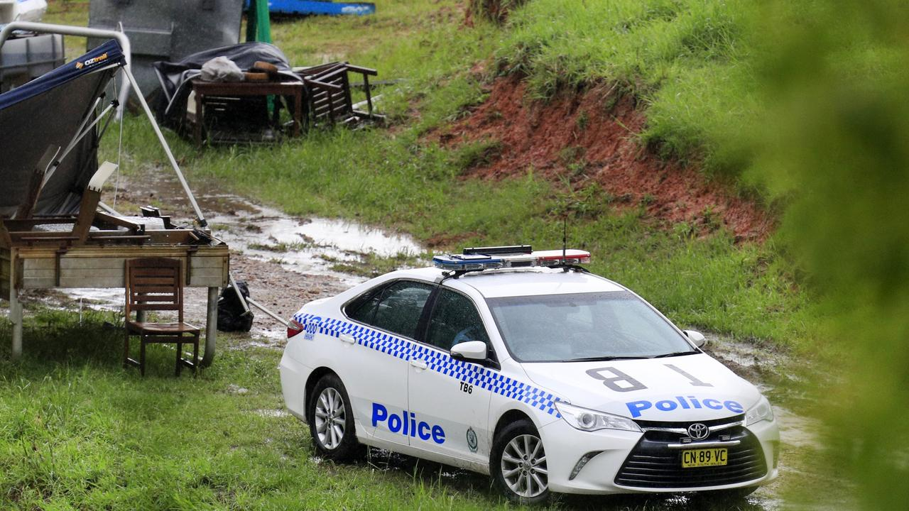 A crime scene at a Kanes Rd, Cudgera Creek property where Anthony Stott was allegedly detained by Mark Francis Frost and Lauren Claire Grainger.