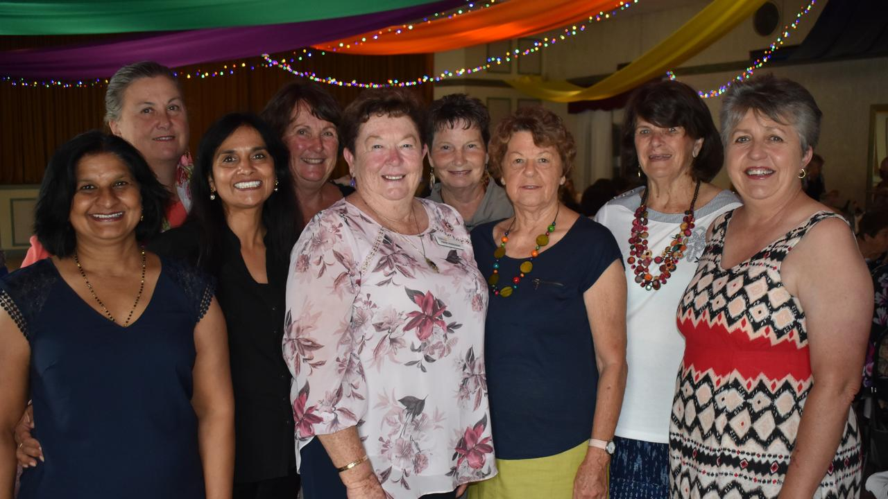 LIFT UP: Emy Jaggessar, Pushpa Vaghela, Elaine Nielsen, Colleen Willis, Denise Harslett, Sharon Gianini, Robyn Hill, Heather Watters and Fran Hodgson at today's womens luncheon.