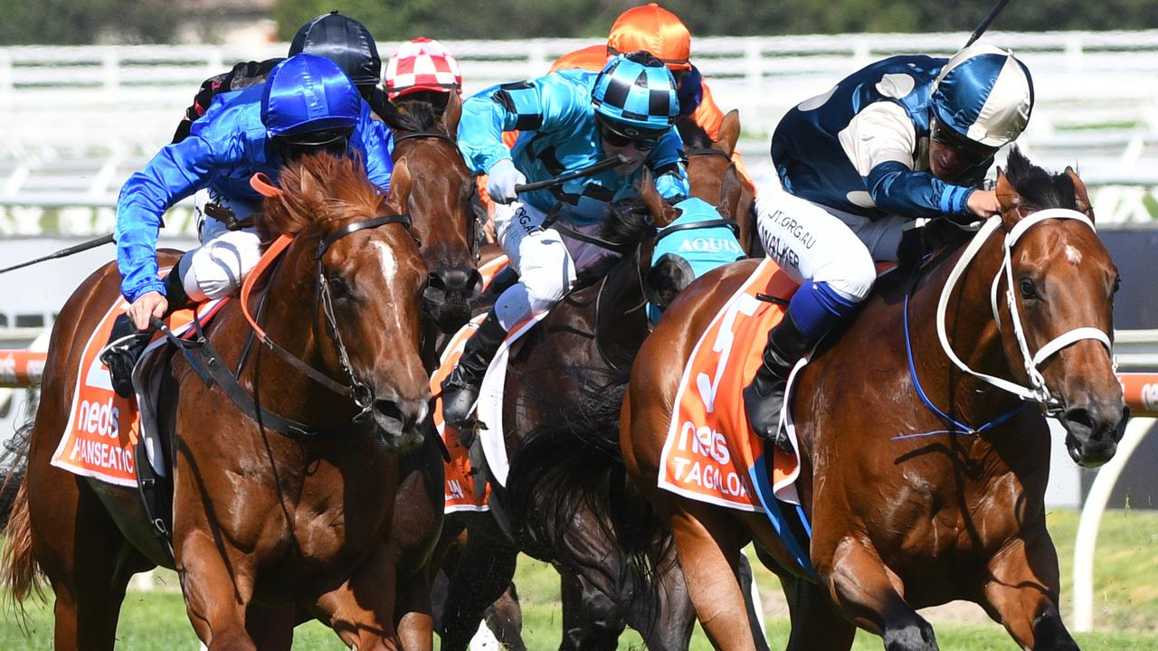 Tagaloa (right) held off Hanseatic to win the Blue Diamond Stakes. Picture: AAP