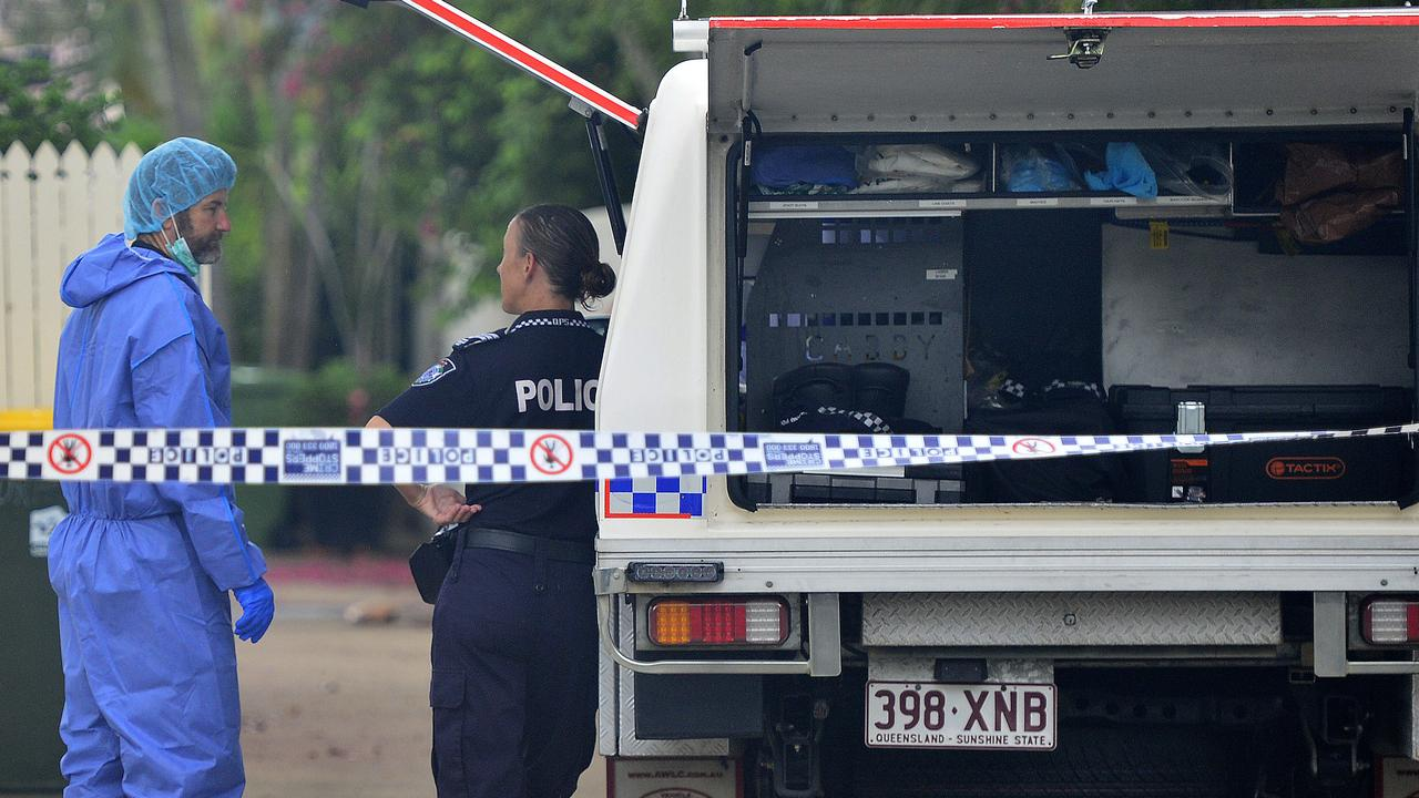 Police at a Townsville home where a 49-year-old woman was stabbed to death by a 40-year-old man in a domestic violence incident. Picture: Matt Taylor