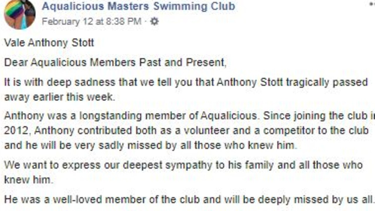 A Facebook post by Aqualicious Masters Swimming Club.