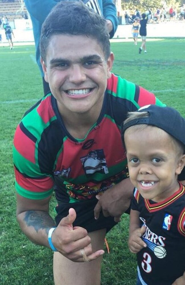 Latrell Mitchell with Quaden Bayles. Picture: Supplied