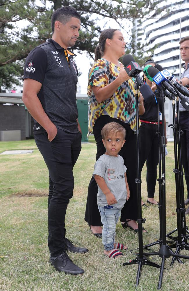 "Ms Bayles said Quaden's dream to pursue an NRL career was not possible with his disability, so today was ""the closest thing"". Picture: Glenn Hampson"