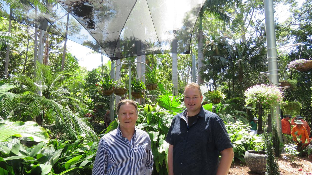 MAJOR ASSET: Mayor Tony Wellington and project manager Dennis Luistra in the new $400,000 shade house area.