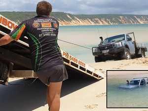 Fisherman walks 12km after ute sinks in crossing