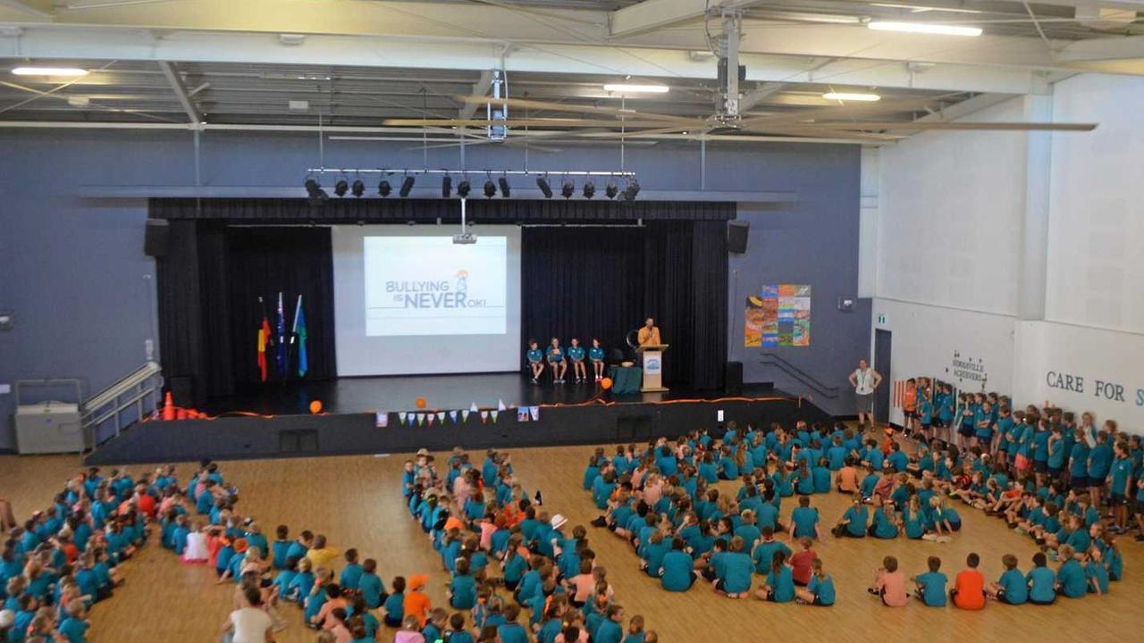 "Noosaville State School spells out its message o ""No!"" to stop bullying."