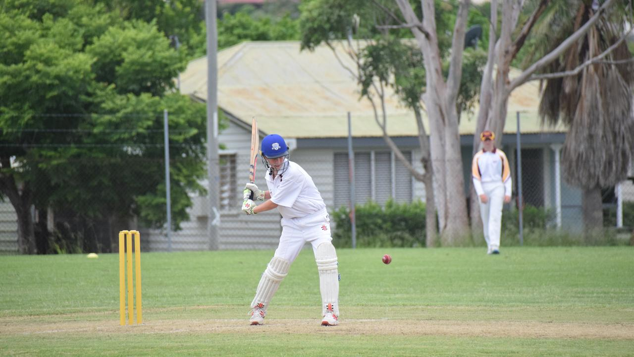 South Burnett U14 Jack Webber doing his best to chip away at the total. (Picture: Tristan Evert)