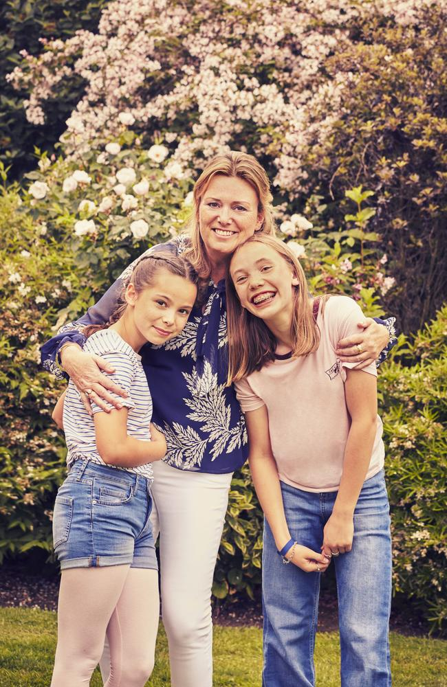 Childs Farm founder Joanna Jensen with her daughters Mimi, 13 and Bella, 11. Picture: Supplied.