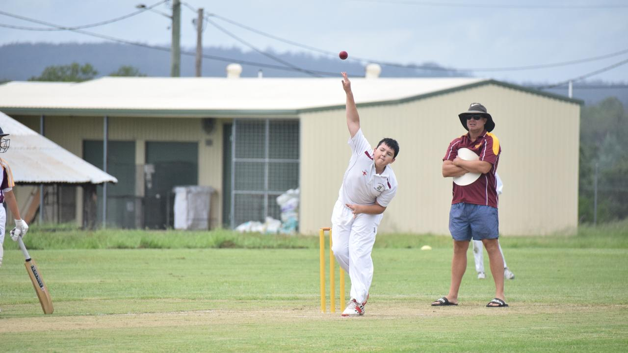South Burnett U14 bowler Archie Koehler against Bundaberg in Murgon. (Picture: Tristan Evert)