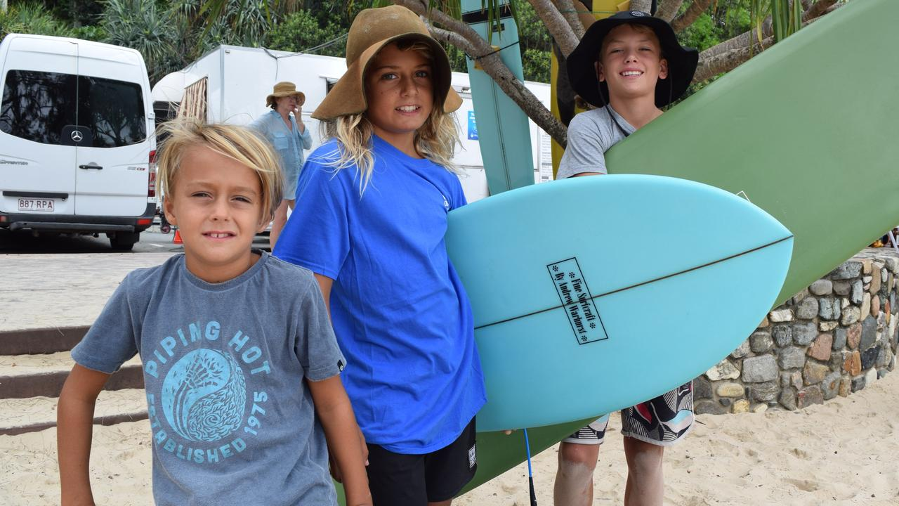 NOOSA SURF FEST: Zade Currie, 8, Lennix Currie, 11 and Spencer Dye, 13 during the Noosa Festival of Surfing.