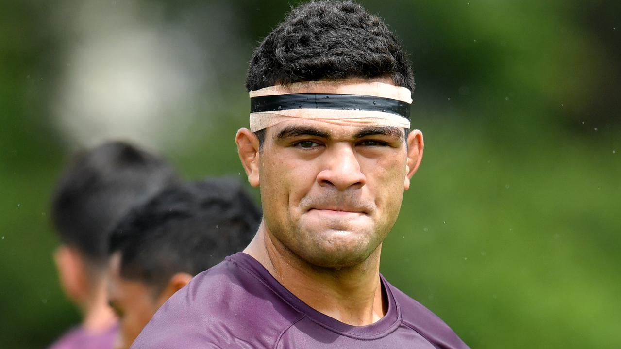 David Fifita is seen during Brisbane Broncos training at Clive Berghofer Field in Brisbane, Tuesday, February 11, 2020. (AAP Image/Darren England) NO ARCHIVING