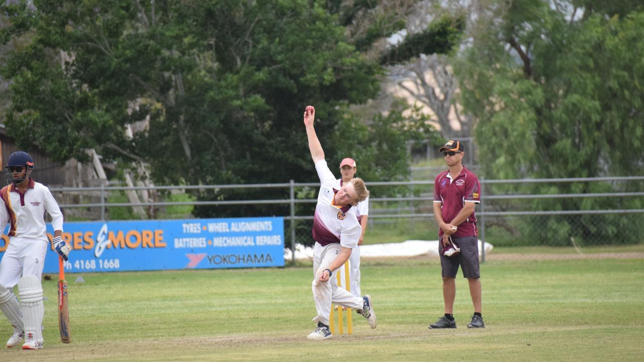 South Burnett U16 Nick Sanewski firing one down the pitch. (Picture: Tristan Evert)
