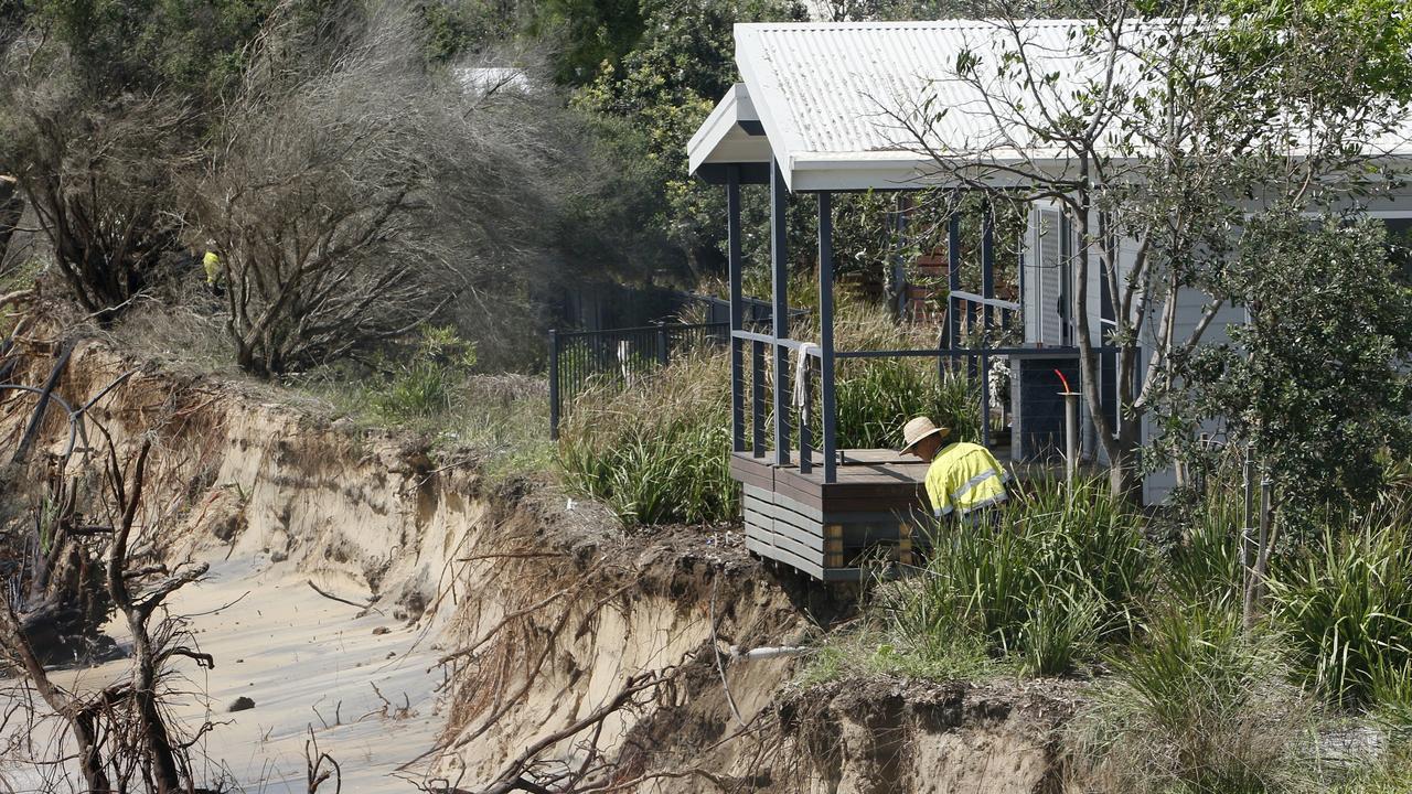 Erosion threatens the Stockton Caravan Park. Picture: AAP Image/Darren Pateman