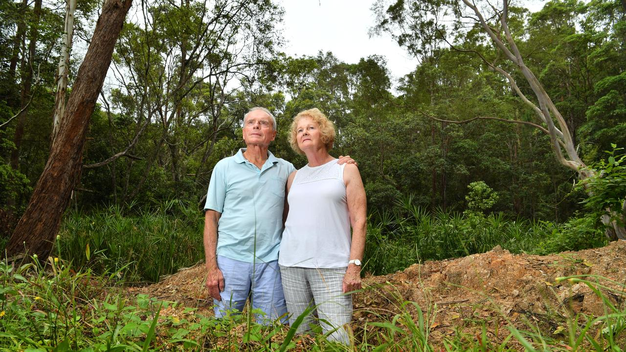 Dennis and Janet Lovell have been ripped of by a builder and left with this $100k hole in the ground. Photo: John McCutcheon / Sunshine Coast Daily