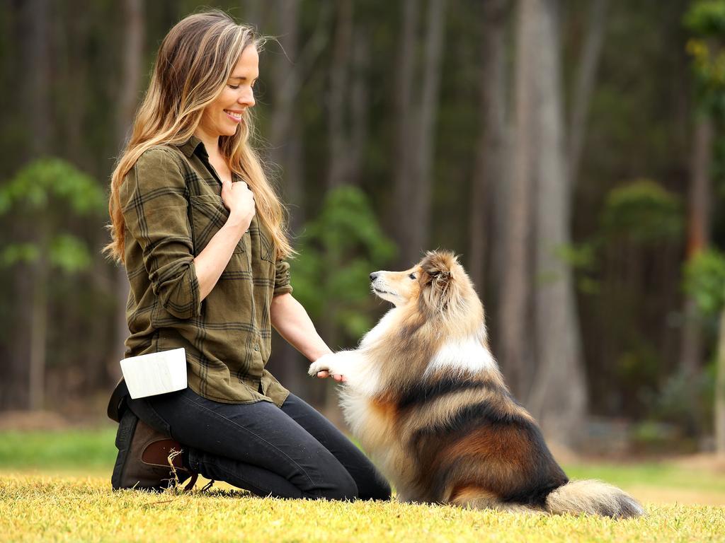 Dog behaviourist Jen Tate training her pooch.