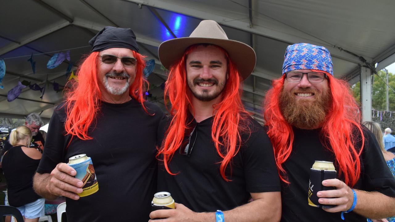 8 Ball Aitken's biggest fans Rodney Scott, Aiden Pitman and Scott Radloff at the 2020 Agnes Blues, Roots and Rock Festival.