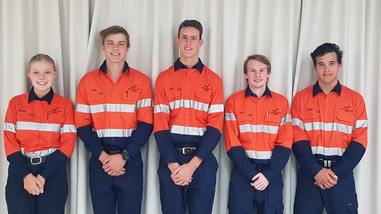 Gladstone Power Station apprentices Samara Todd, Cody Guymer, David Lockwood, Alexander McLeod and Jordan Long.