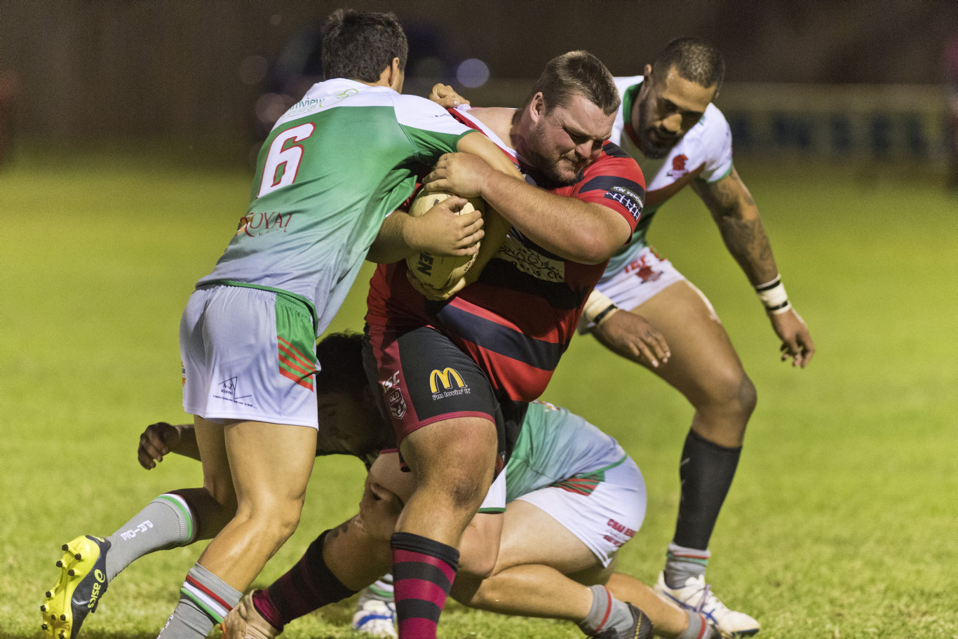 Josh Mason of Valleys against Beenleigh in a pre-season trial rugby league match at Herb Steinohrt oval, Saturday, February 22, 2020. Picture: Kevin Farmer