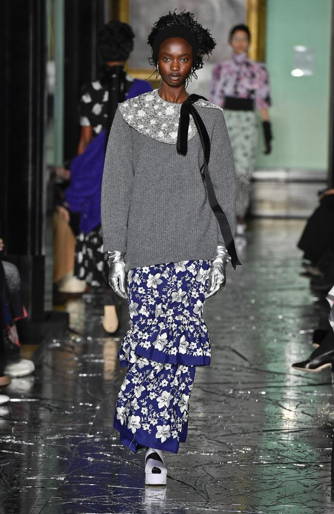 Agi Akur strutted for Erdem in London. Picture: Getty Images