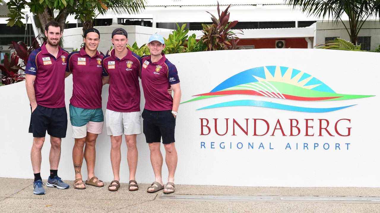 Brisbane Lions Darcy Gardiner, Cameron Rayner, Brock Smith and Lachie Neale roar into Bundaberg.