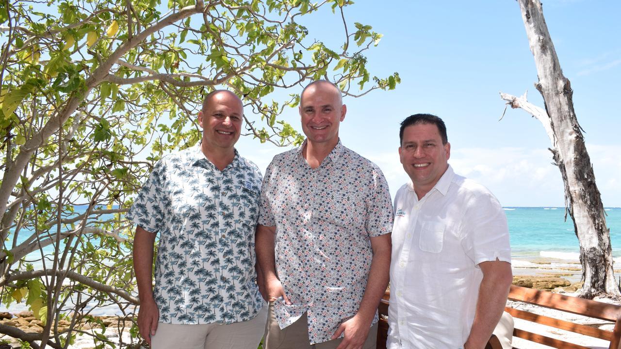 Aldesta Hotels Australia vice president Tony Barradale, Member for Gladstone Glenn Butcher and Gladstone region mayor Matt Burnett at the official launch of the reopened Wilson Island.