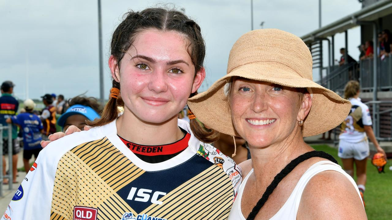 Sophie Novesel who played in the Under 17 game was supported by her proud mother, Emma Novosel. Picture: Tony Martin