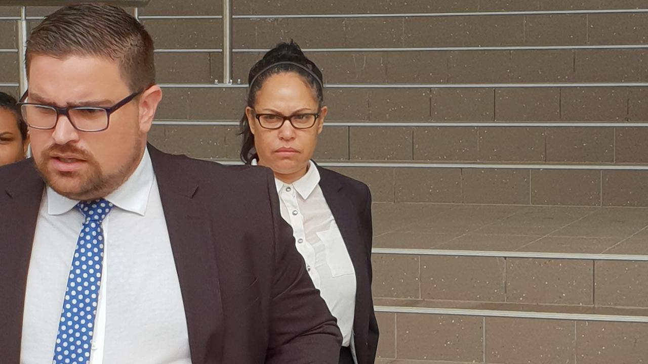 Australian singer and actress Christine Anu (back) left the talking to solicitor Rowan King when approached by media outside Rockhampton courthouse on Monday. Photo Darryn Nufer.