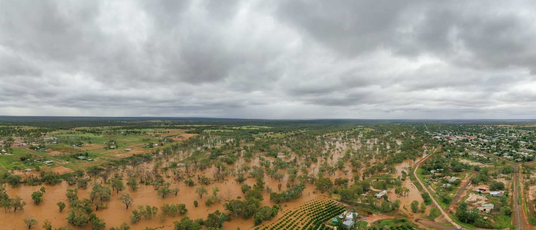 Aerial view of Charleville after a period of rain resulting in the Warrego River coming close to going over the road. Picture: Leon O'Neil