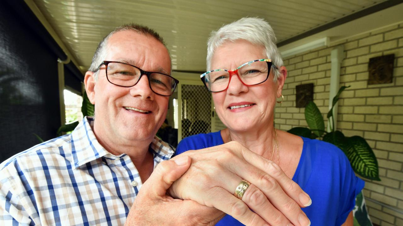 Glenda and Phillip O'Brien with the ring that was lost for 46 years. Photo: Alistair Brightman