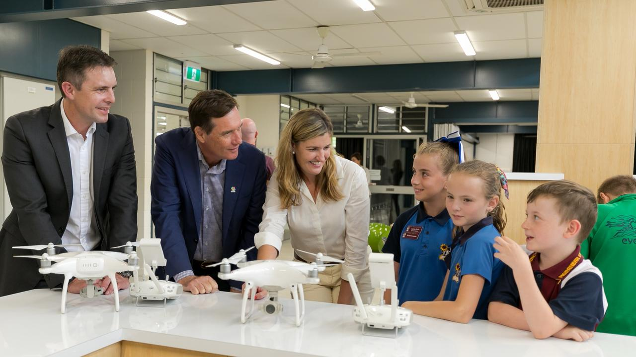LOOKING AHEAD: BMA Asset president James Palmer, Natural Resources, Mines and Energy minister Anthony Lynham and Training and Skills Development Minister Shannon Fentiman with Moranbah students at the launch of the Bowen Basin Bright Minds.