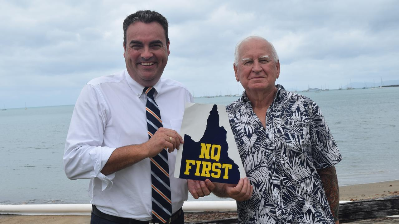 Member for Whitsunday Jason Costigan pictured with president of the North Queensland First Party Richard Filewood.