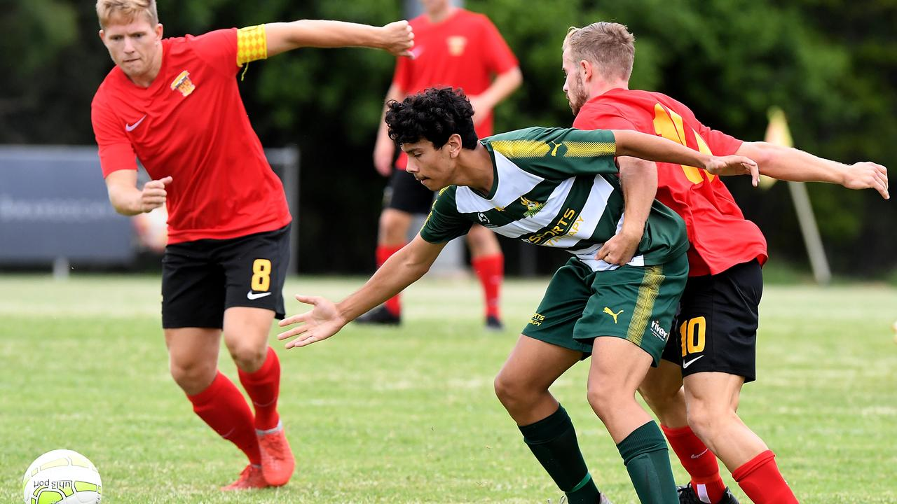 EARLY STRUGGLE: Western Pride player Jacob Advaney battles with Sunshine Coast tackler Matthew Cann in Sunday's QPL encounter at Kawana. Picture: Warren Lynam