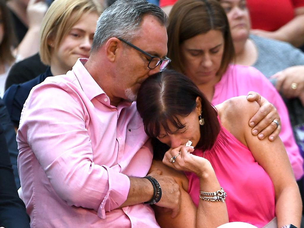 Lloyd and Suzanne Clarke at a vigil for their daughter and grandchildren held in Brisbane on Sunday. Picture: AAP