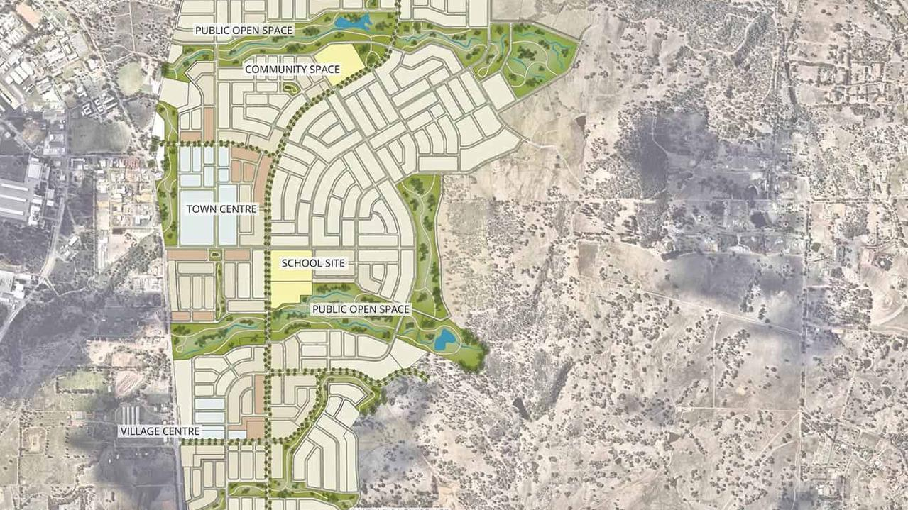 The Bullsbrook masterplan envisages a whole new town being built 45km north of Perth.