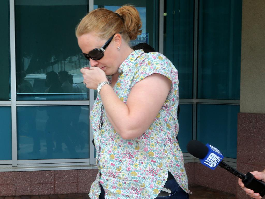 Goodstart Early Learning employee Dionne Batrice Grills, 34, leaves the Cairns watchhouse yesterday. Picture: Stewart McLeam