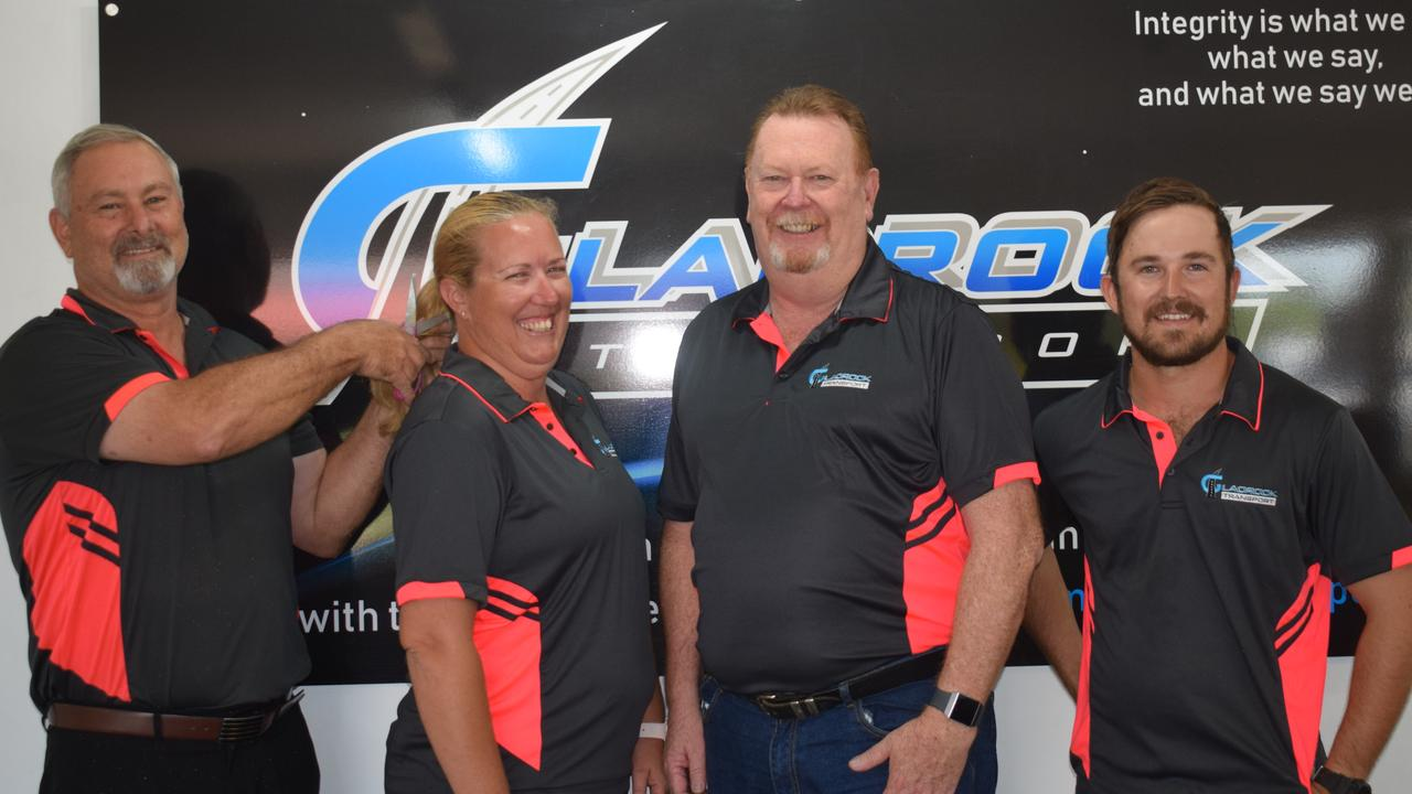 Gladrock Transport general manager Paul Webster with employees Leanne Kiernan, Stephen Spencer and Matthew Green will all participate in World's Greatest Shave at the Digger's Hotel on March 6.