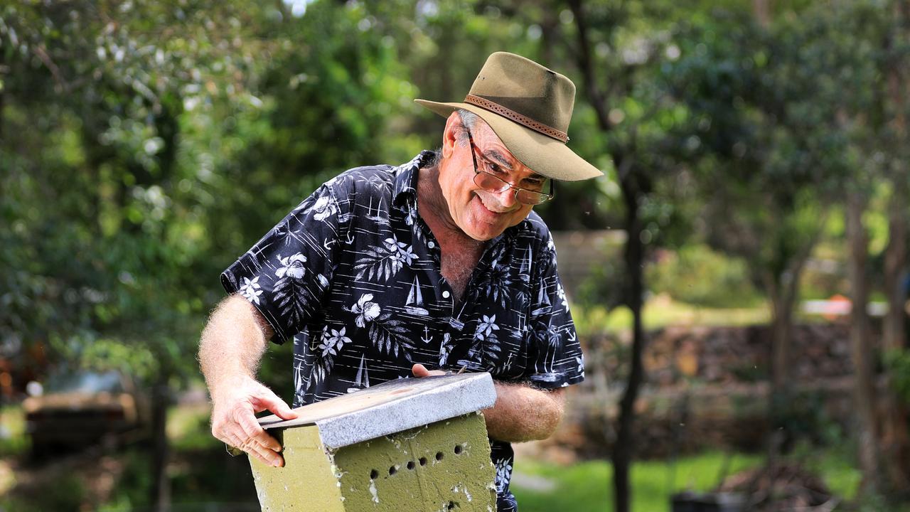"Elanora's own ""Bee Man"" Peter Davenport with one of his many Australian Native bee hives. Photo: SCOTT POWICK"