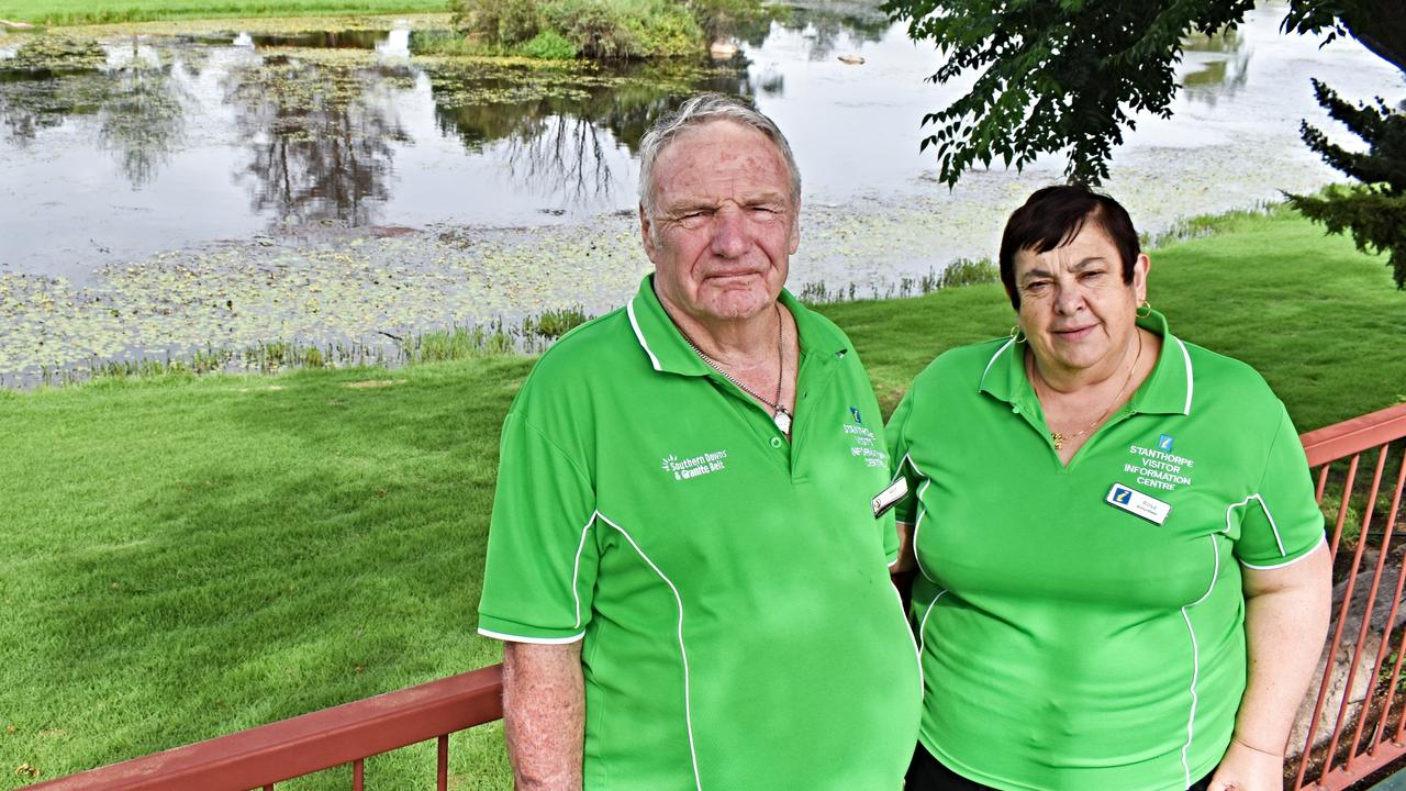 Stanthorpe Visitors Information Centre volunteers Keith and Rosa Merry have seen an upswing in visitors of late.