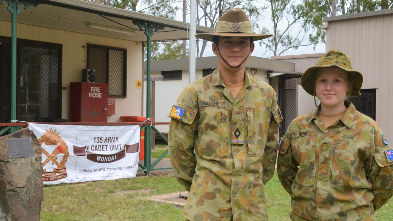 Cadet Under Officer Michael Malone and cadet Lily Rose at the Wondai Cadets open day on Sunday.